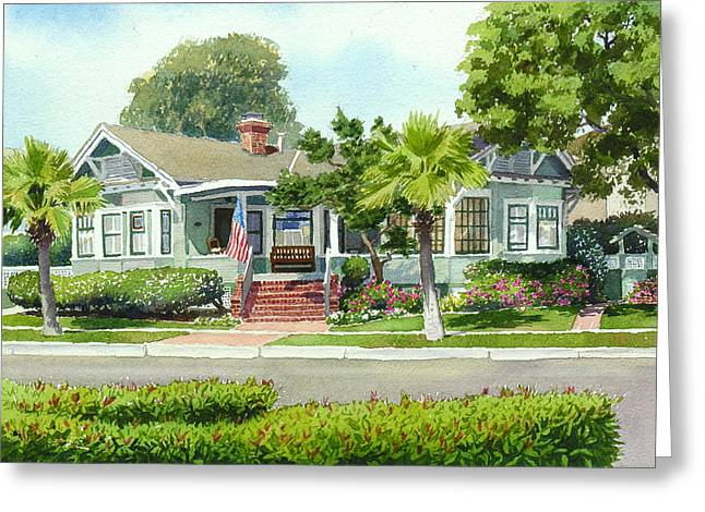 Craftsman Greeting Cards - Coronado Craftsman House Greeting Card by Mary Helmreich
