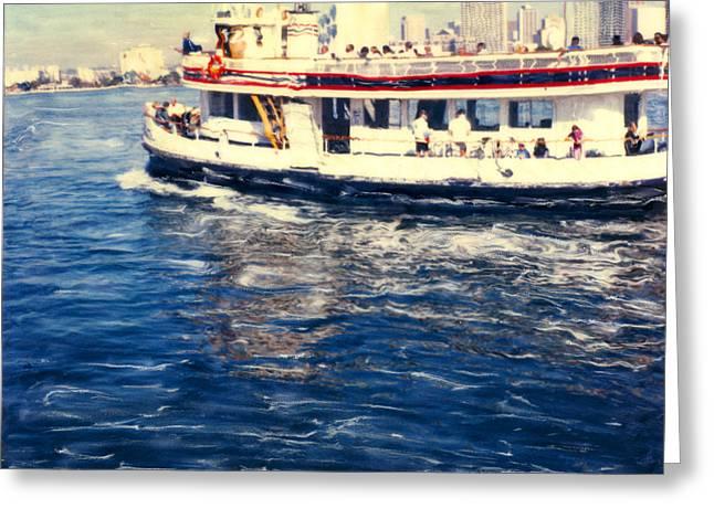 Historic Ship Mixed Media Greeting Cards - Coronado Ferry Greeting Card by Glenn McNary