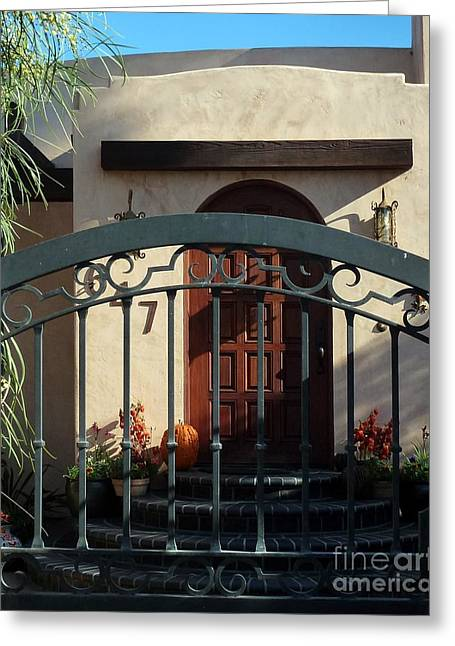 Coronado Gate And Door Greeting Card by Barbie Corbett-Newmin