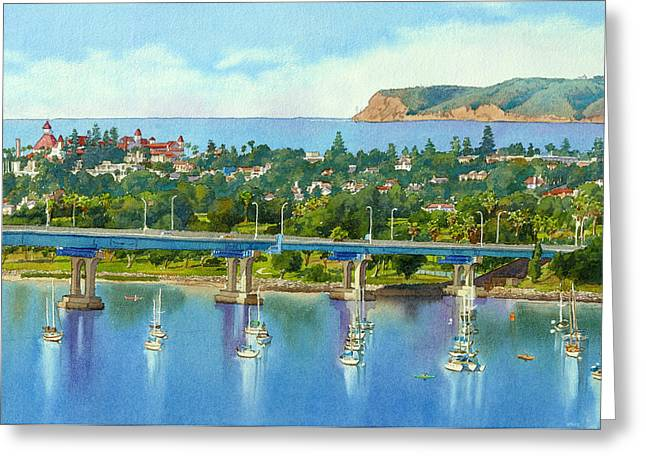 Bay Bridge Greeting Cards - Coronado Island California Greeting Card by Mary Helmreich