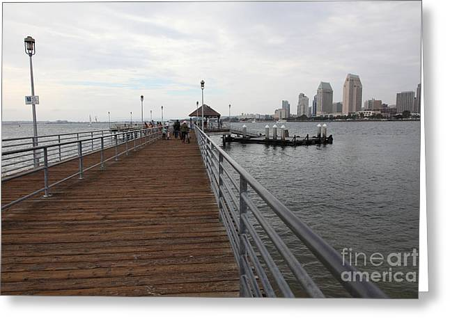 Coronado Harbor Greeting Cards - Coronado Pier Overlooking The San Diego Skyline 5D24353 Greeting Card by Wingsdomain Art and Photography