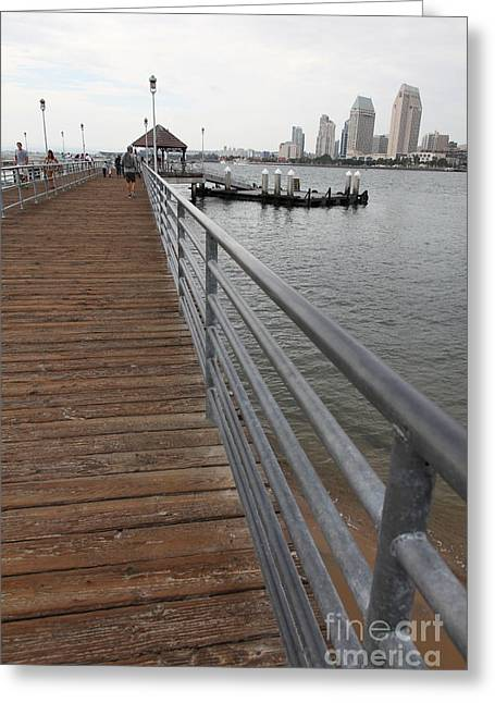 Coronado Harbor Greeting Cards - Coronado Pier Overlooking The San Diego Skyline 5D24354 Greeting Card by Wingsdomain Art and Photography