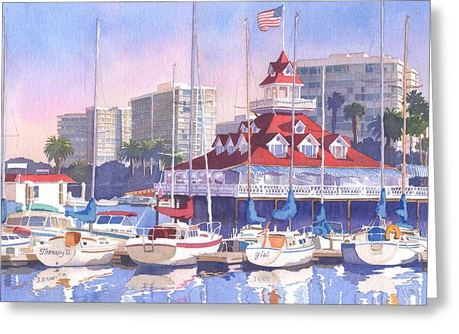 Boat Greeting Cards - Coronado Shores Greeting Card by Mary Helmreich