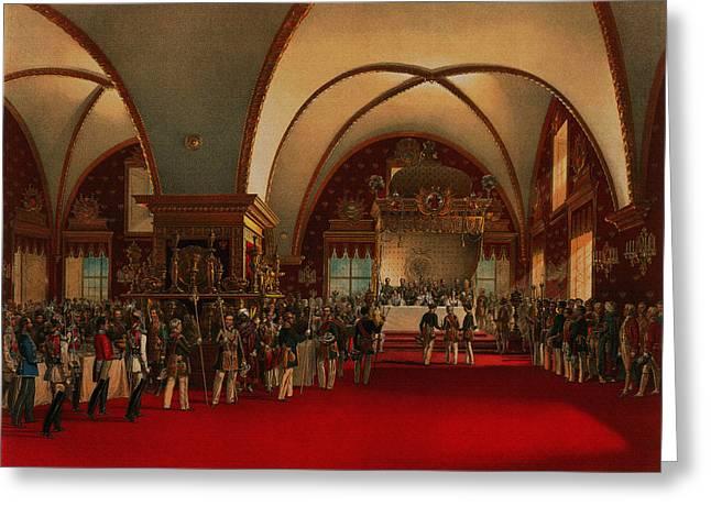 Banquet Mixed Media Greeting Cards - Coronation Banquet Greeting Card by Vasily Timm