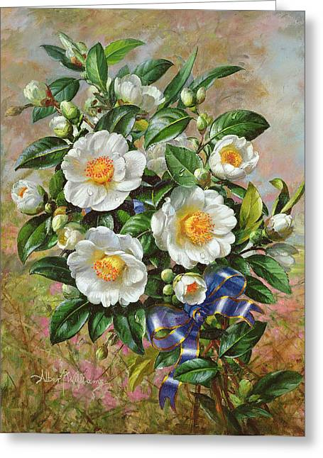 Still-life With Flowers Greeting Cards - Coronation Camelia From The Golden Jubilee Series, 2002oil On Canvas Greeting Card by Albert Williams