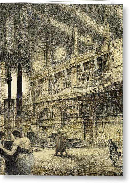 1930s Paintings Greeting Cards - Coronation Evening London 1937 Greeting Card by Jack Coburn Witherop