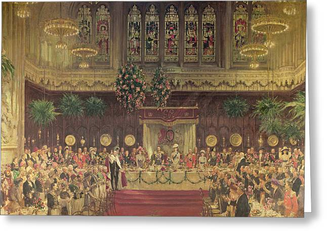 Lunchs Greeting Cards - Coronation Luncheon For King George V And Queen Mary In Guildhall, 29th June 1911, 1914-22 Oil Greeting Card by Solomon Joseph Solomon