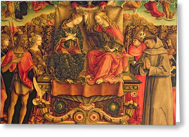 Kingdom Of Heaven Greeting Cards - Coronation of the Virgin Greeting Card by Carlo Crivelli