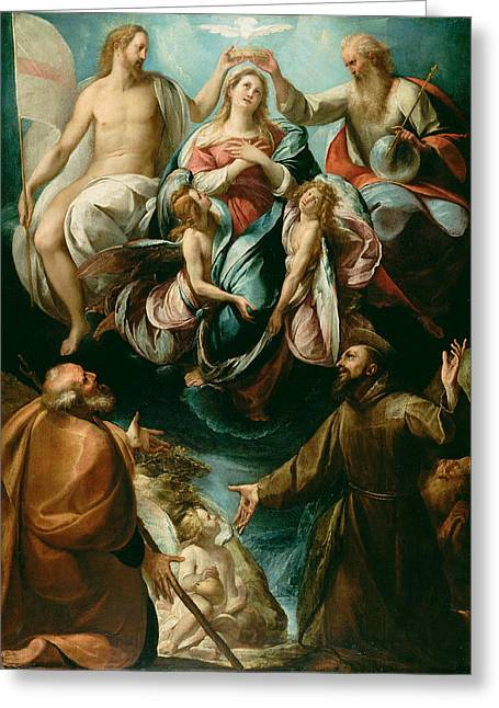 Cesare Greeting Cards - Coronation of the Virgin with Saints Joseph and Francis of Assisi Greeting Card by Giulio Cesare Procaccini