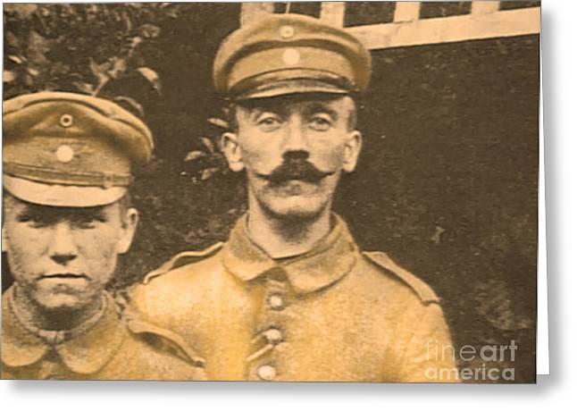 Ww1 Greeting Cards - Corporal Adolf Hitler Greeting Card by Al Bourassa