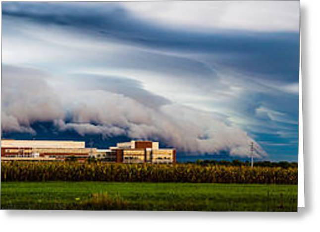 Glass Wall Greeting Cards - Corporate America at the Edge of Agriculture Greeting Card by Jim Finch