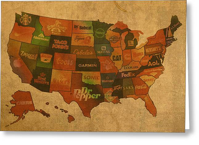 Map Greeting Cards - Corporate America Map Greeting Card by Design Turnpike