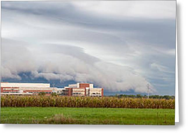 Glass Wall Greeting Cards - Corporate America Meets the Farm Greeting Card by Jim Finch