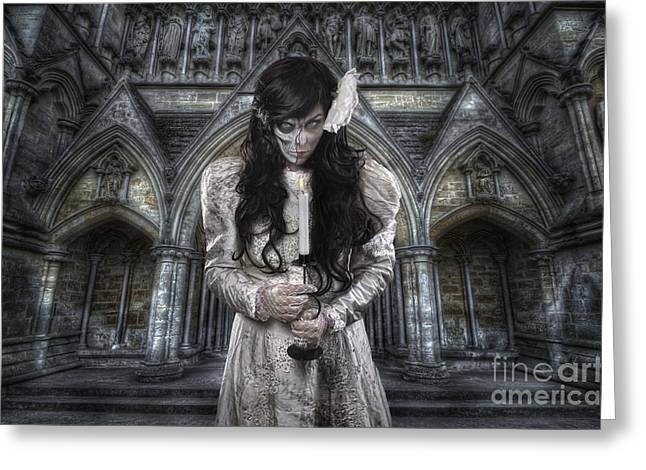 Gothic Dark Church Greeting Cards - Corpse Bride 1.0 Greeting Card by Yhun Suarez
