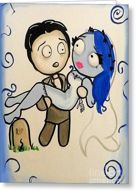Recently Sold -  - Surprise Greeting Cards - Corpse Bride Greeting Card by Marisela Mungia