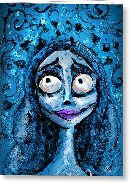 Wishes Drawings Greeting Cards - Corpse Bride phone sketch Greeting Card by Alessandro Della Pietra