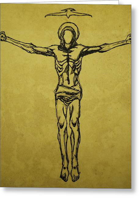Crucifix Art Drawings Greeting Cards - Corpus Christi and Dove Greeting Card by Daniel P Cronin