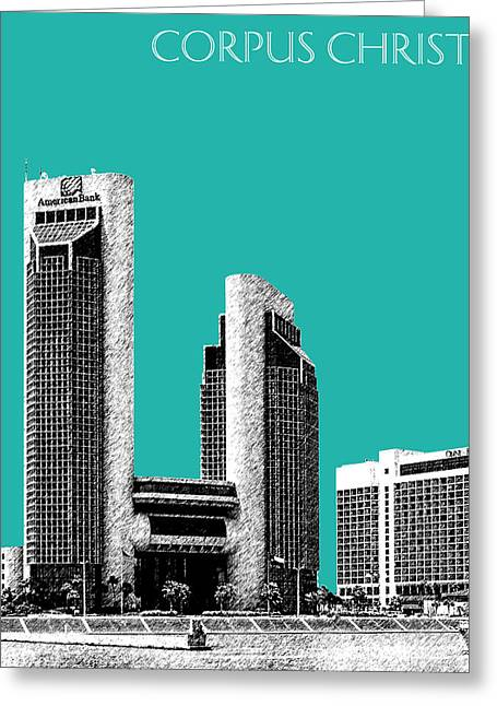 Texas Architecture Greeting Cards - Corpus Christi Skyline - Teal Greeting Card by DB Artist