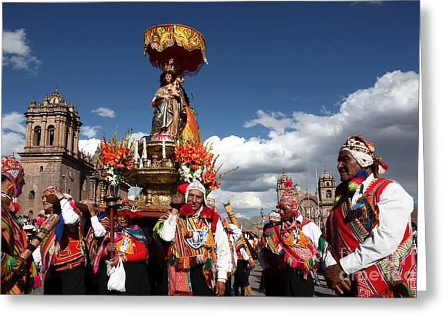 Peru Greeting Cards - Corpus Cristi in Cusco Greeting Card by James Brunker