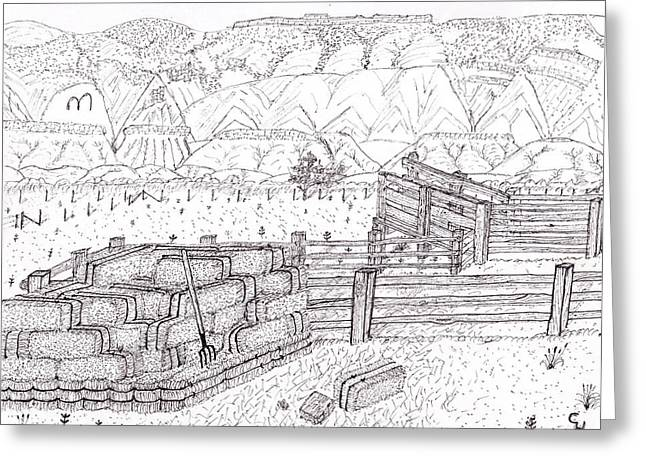 Bale Drawings Greeting Cards - Corral 2 Greeting Card by Clark Letellier