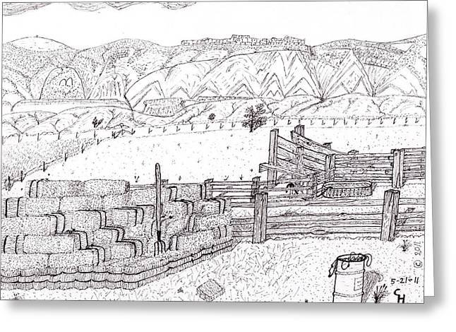 Bale Drawings Greeting Cards - Corral 3 Greeting Card by Clark Letellier