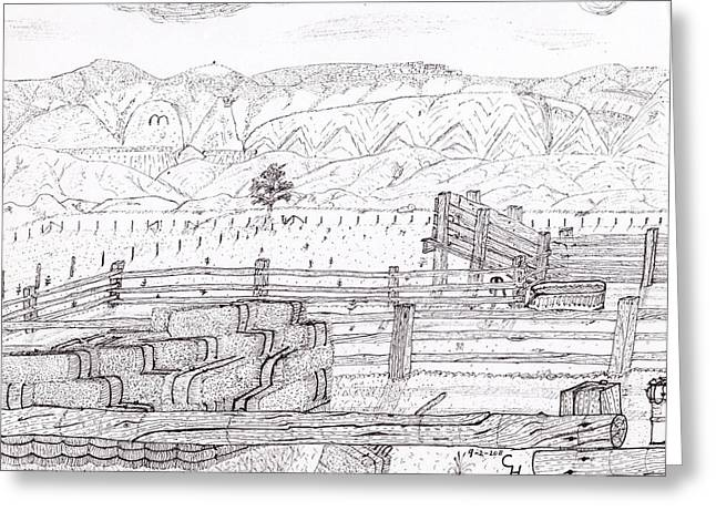 Bale Drawings Greeting Cards - Corral 4 Greeting Card by Clark Letellier