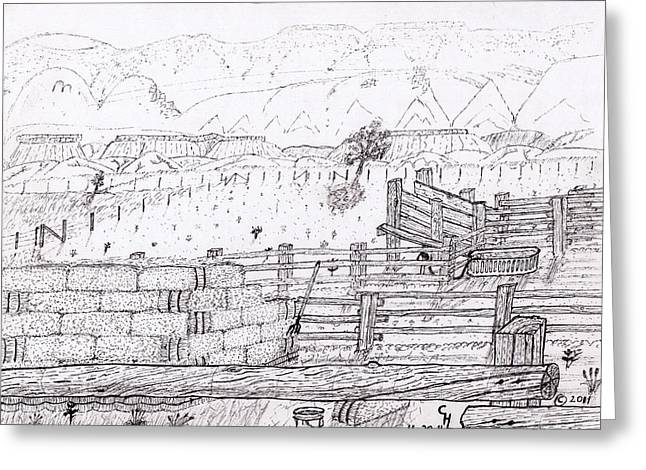 Bale Drawings Greeting Cards - Corral 5 Greeting Card by Clark Letellier