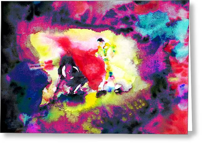 Toreador Paintings Greeting Cards - Corrida Greeting Card by Fabrizio Cassetta