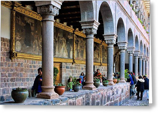Catherdral Greeting Cards - Corrido with Paintings Greeting Card by Linda Phelps