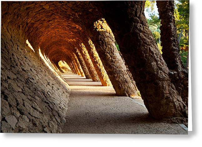 Guell Greeting Cards - Corridor In A Park, Park Guell Greeting Card by Panoramic Images