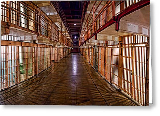 Corridor Of A Prison, Alcatraz Island Greeting Card by Panoramic Images