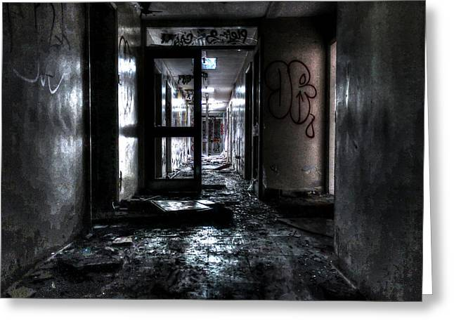 Asylum Greeting Cards - Corridor of doom Greeting Card by Ian Hufton
