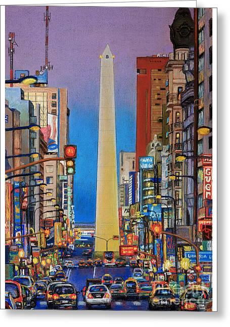Traffic Pastels Greeting Cards - Corrientes Avenue Greeting Card by Bernardo Galmarini