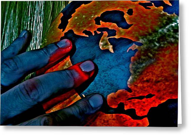 Digital Art Glass Art Greeting Cards - Corrosion Greeting Card by Vanessa Flores