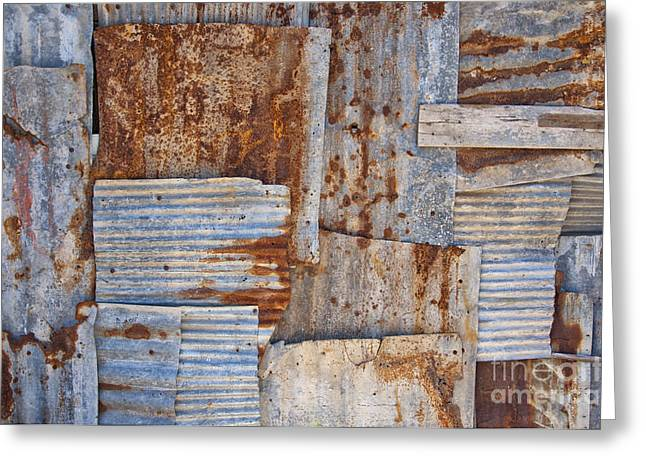 Corrugated Iron Background Greeting Card by Antony McAulay