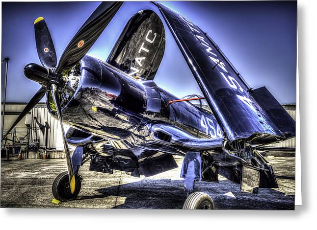 Military Airplanes Photographs Greeting Cards - Corsair 454 Greeting Card by Spencer McDonald