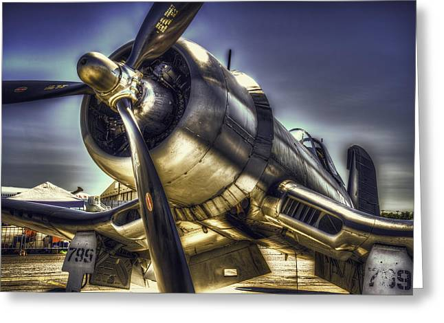 Corsair Airplane Greeting Card by Spencer McDonald