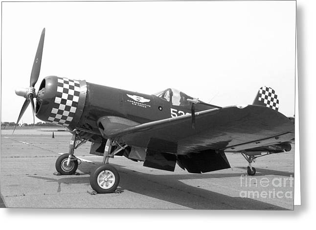 Ww Ii Greeting Cards - Corsair Fighter In Black and White Greeting Card by M K  Miller