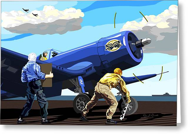 Carrier Greeting Cards - Corsair Two Roads Greeting Card by David Gorski