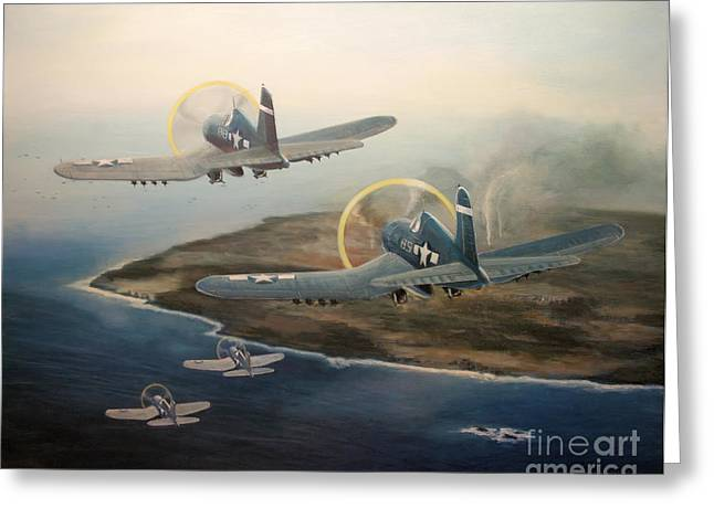 Corsairs Over Iwo Greeting Card by Stephen Roberson
