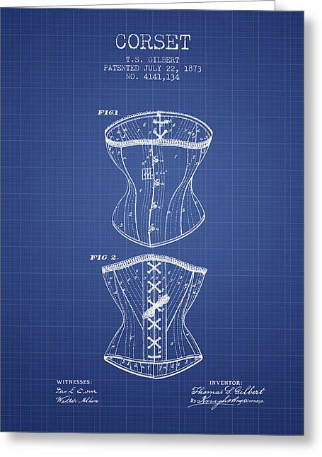 Corset Dress Greeting Cards - Corset patent from 1873 - Blueprint Greeting Card by Aged Pixel