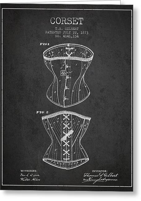 Corset Dress Greeting Cards - Corset patent from 1873 - Dark Greeting Card by Aged Pixel