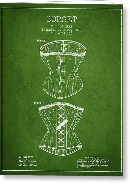 Corset Dress Greeting Cards - Corset patent from 1873 - Green Greeting Card by Aged Pixel