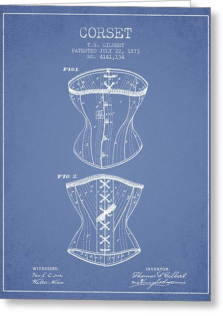 Corset Dress Greeting Cards - Corset patent from 1873 - Light Blue Greeting Card by Aged Pixel