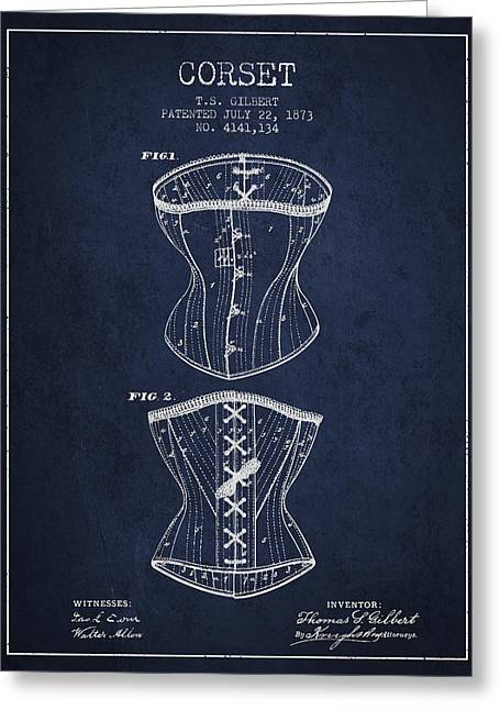 Corset Dress Greeting Cards - Corset patent from 1873 - Navy Blue Greeting Card by Aged Pixel