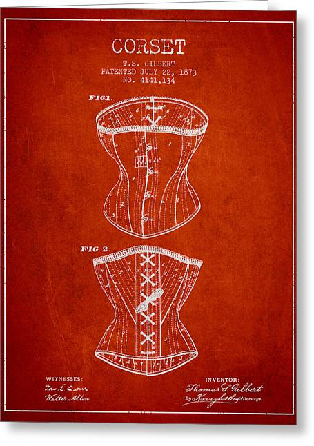Corset Dress Greeting Cards - Corset patent from 1873 - Red Greeting Card by Aged Pixel