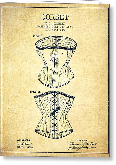 Corset Dress Greeting Cards - Corset patent from 1873 - Vintage Greeting Card by Aged Pixel