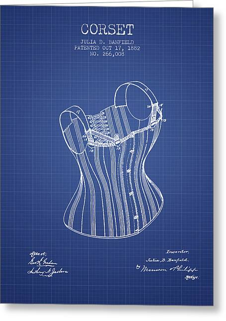 Corset Dress Greeting Cards - Corset patent from 1882 - Blueprint Greeting Card by Aged Pixel