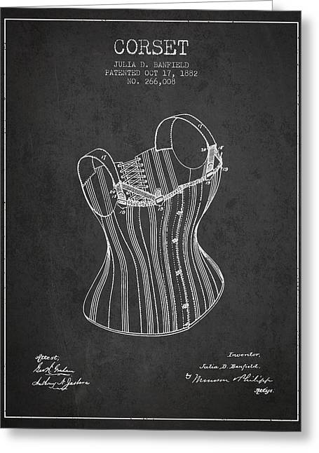 Corset Dress Greeting Cards - Corset patent from 1882 - Dark Greeting Card by Aged Pixel