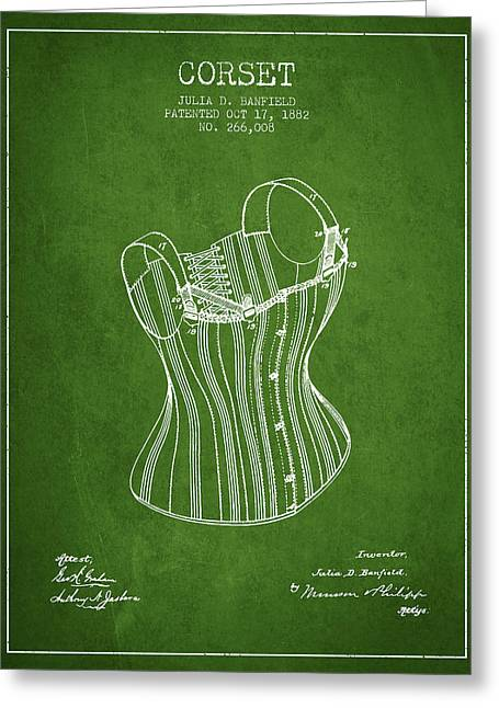 Corset Dress Greeting Cards - Corset patent from 1882 - Green Greeting Card by Aged Pixel